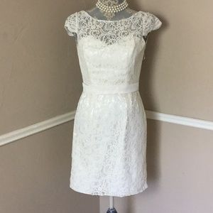 Wedding Lace Scoop Button Zip Ribbon Ivory Church